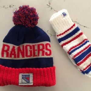 Accessories - New York Rangers Pom hat and mittens